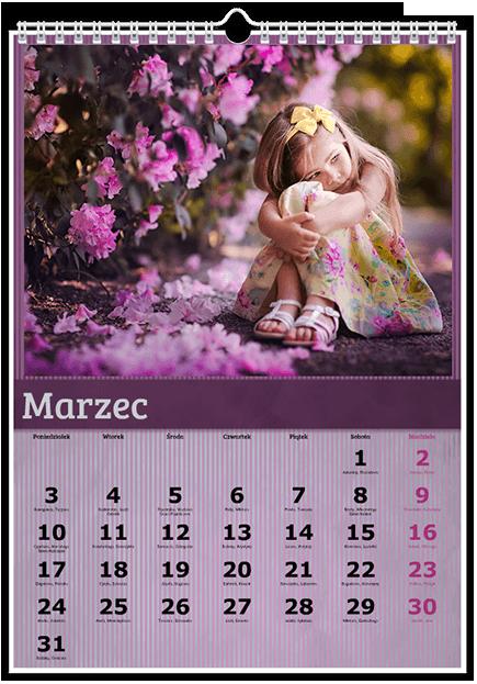 Szablon fotokalendarza Fioletowy - Uwolnijkolory.pl