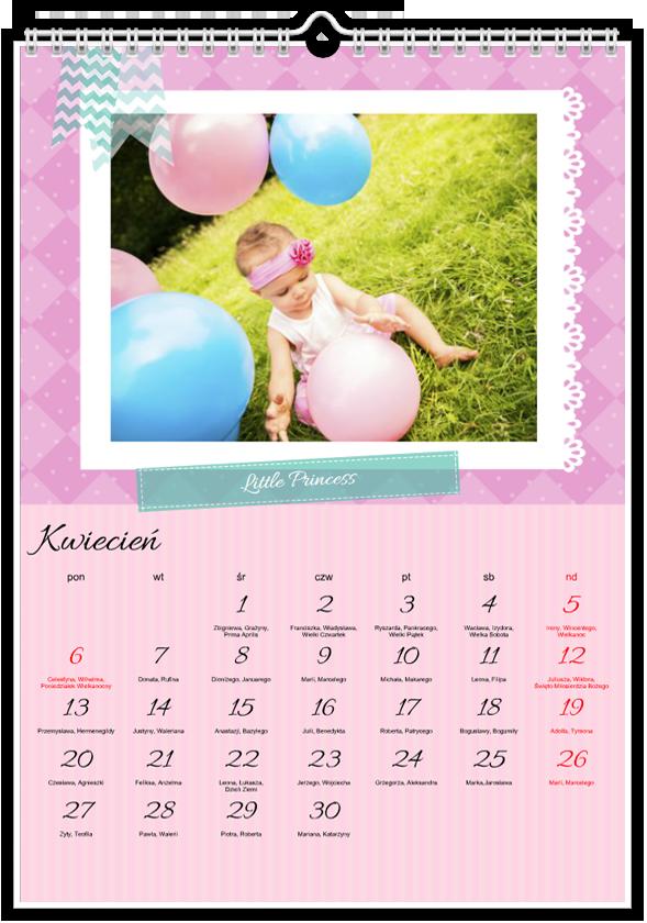 Szablon fotokalendarza Little Princess - Uwolnijkolory.pl