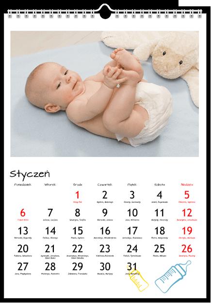 Szablon fotokalendarza Niemowlęcy - Uwolnijkolory.pl