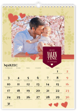 Szablon fotokalendarza Be My Valentine - Uwolnijkolory.pl