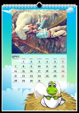 Szablon fotokalendarza Dinozaury - Uwolnijkolory.pl