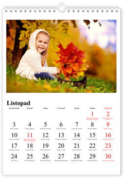 Szablon fotokalendarza Klasyczny - Uwolnijkolory.pl