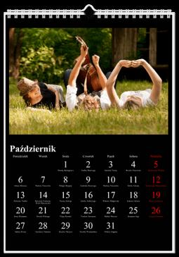 Szablon kalendarza Klasyczny czarny - Uwolnijkolory.pl