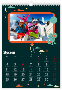 Szablon fotokalendarza Kosmiczna wyprawa - Uwolnijkolory.pl