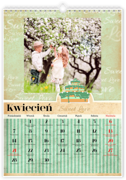 Szablon fotokalendarza Sweet Love - Uwolnijkolory.pl