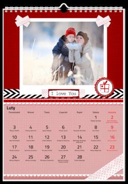 Szablon fotokalendarza Walentynkowy - Uwolnijkolory.pl